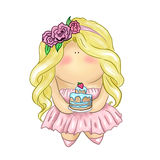 Blonde hair girl with cake Royalty Free Stock Images