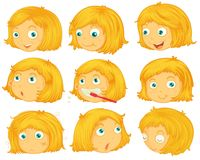 Blonde hair girl. Illustration of different emotions of a blonde hair girl Royalty Free Stock Image
