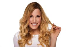 Blonde hair model woman. Female portrait. Studio shot. stock photos