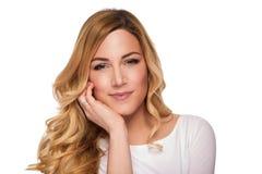 Blonde hair model woman. Female portrait. Studio shot. royalty free stock image