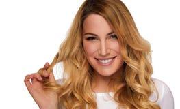Blonde hair model woman. Female portrait. Studio shot. royalty free stock images