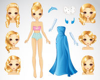 Blonde Hair Set Of Blue Paper Doll Royalty Free Stock Photo