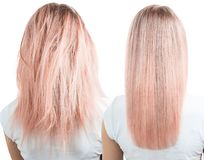 Blonde hair before and after treatment. Isolated on white background royalty free stock images