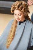 Blonde hair. Woman in hair salon Stock Photo