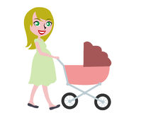 Blonde haired pregnant woman pushing buggy. Flat design stock illustration