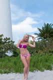 Blonde haired woman at a Florida beach. Royalty Free Stock Photo