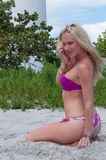 Blonde haired woman at a Florida beach. Stock Photo