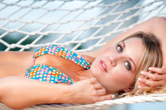 Blonde in the Hammock Royalty Free Stock Photography