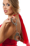 Blonde with handcuffs Stock Photography