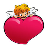 Cupid behind a huge heart Stock Photos