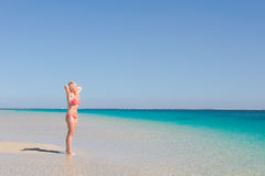 Blonde happy woman posing paradise beach Stock Photo