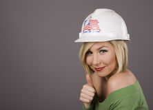 Blonde Hard Hat Thumbs Up Stock Photo