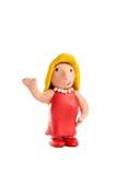 Blonde Hausfrau gebildet vom sagenden Lehm hallo Stockfotos