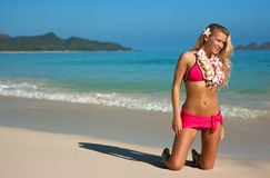 Blonde on Hawaii Royalty Free Stock Images