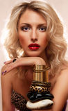 Blonde and her bracelets. Beautiful blonde woman with accessories Stock Images