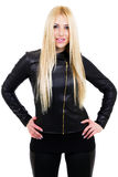 Blonde with her hands on hips. Atractive blonde with her hands on hips. White background Royalty Free Stock Photo