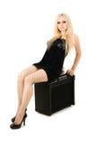 Blonde hermoso con el amperio Imagenes de archivo