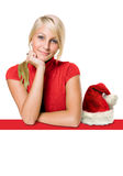 Blonde hermoso con el espacio de la copia del estilo de la Navidad Fotografía de archivo