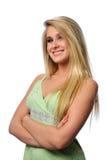 Blonde hermoso con los brazos plegables Imágenes de archivo libres de regalías