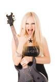 Blonde hermoso con una guitarra Imagen de archivo libre de regalías