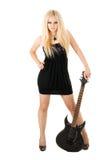 Blonde hermoso con una guitarra Imágenes de archivo libres de regalías