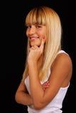 Blonde hermoso en negro Foto de archivo