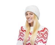 Blonde hermoso en ropa del invierno Imagenes de archivo