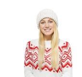 Blonde hermoso en ropa del invierno Foto de archivo