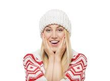 Blonde hermoso en ropa del invierno Fotos de archivo libres de regalías