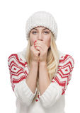 Blonde hermoso en ropa del invierno Fotos de archivo