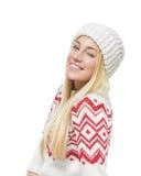 Blonde hermoso en ropa del invierno Fotografía de archivo libre de regalías