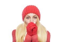 Blonde hermoso en ropa del invierno Imagen de archivo