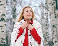 Blonde hermoso en una nieve rusa tradicional del invierno Fotografía de archivo libre de regalías