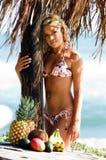 Blonde het Strand van de bikini Stock Afbeelding
