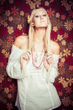 Blonde Hippy Woman. Pretty blonde hippy young woman Royalty Free Stock Photos