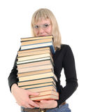 The blonde Holding Lots of Books Stock Photos