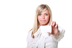Blonde holding white blank card Stock Photography