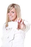 Blonde holding white blank card Stock Photos