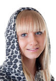 Blonde in a hood Stock Photos