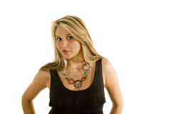 Blonde In Black Dress With Lips Royalty Free Stock Image
