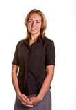 Blonde In Black Shirt Hands In Front Royalty Free Stock Photography