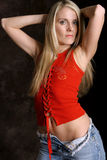Blonde In Red Three Royalty Free Stock Image