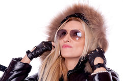 Blonde with jacket and sunglasses Stock Photos