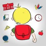 Blonde jongen die naar school gaan Stock Foto's