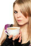 Blonde joven atractivo con una taza de té Fotos de archivo