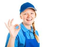 Blonde Jugendarbeitskraft - ein O.K. Stockfoto