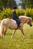 Blonde jugendlich Fahrt das Pony Lizenzfreie Stockbilder