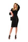 Blonde junge Dame mit den Gläsern Lizenzfreie Stockfotografie