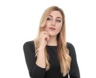 Blonde junge Frau, die seitlich in der Aufregung schaut Lizenzfreie Stockfotografie