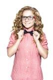 Blonde junge Frau in einer Klage mit einer Gleichheit Stockbilder